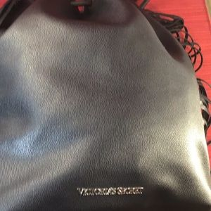 Victoria Secret Faux Leather Drawstring Back Pack.